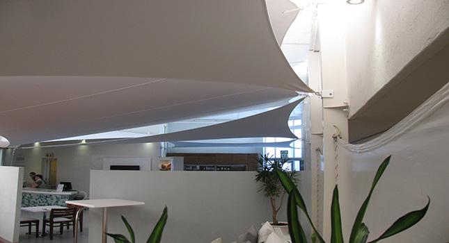 Indoor stretch tent sail installation