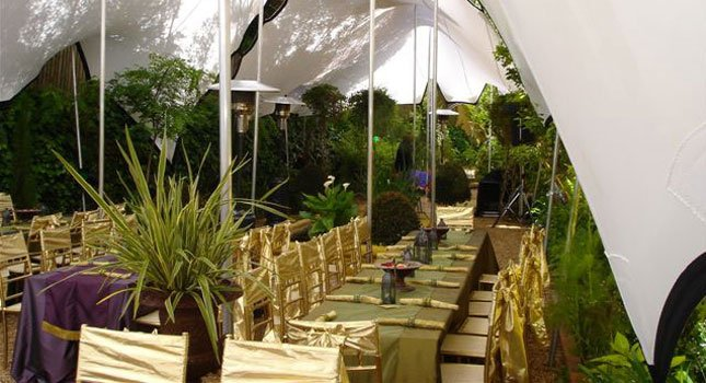 Stretch tent wedding decorations