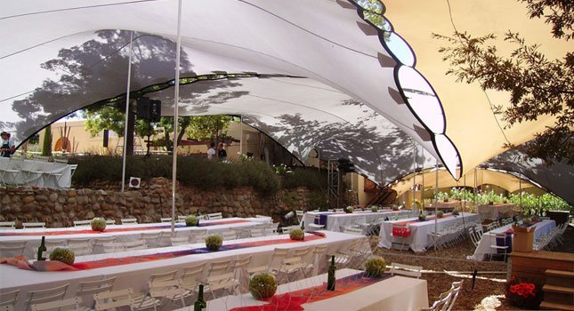 Wedding tent decorations for stretch tents