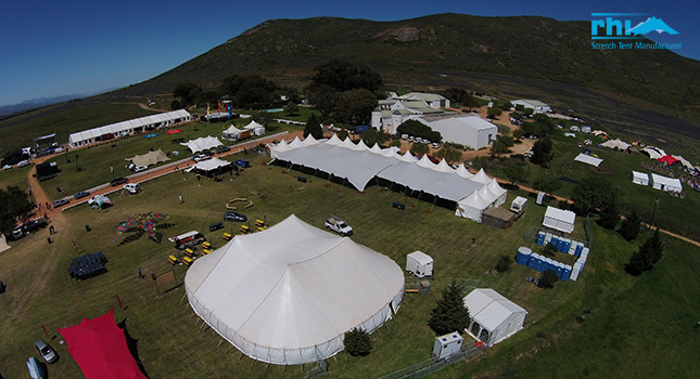 Stretch tents attached to traditional marquees at Rocking the Daisies 2014 & A birdu0027s-eye view of large stretch tent setups