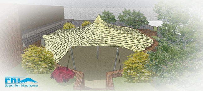 An 3D front-view of the custom stretch tent design for Scotland's Golf Inn