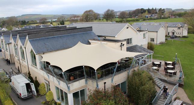 Custom roof deck cover for the Avon Ri Hotel in Blessington
