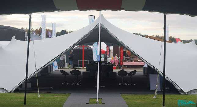 Integrated stretch tent accessories