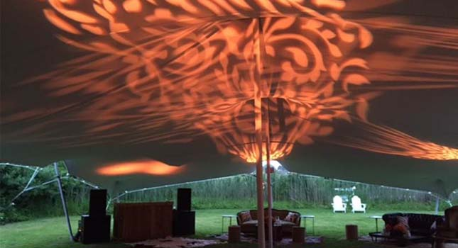 Stretch tent lighting: Projection