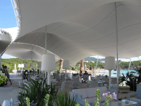 6 CUSTOM STRETCH TENT IBIZA BEACH FRONT GREY